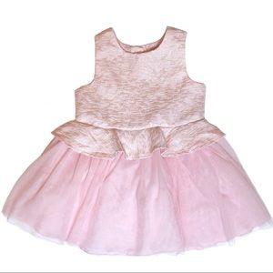 Blush Pink Peplum Tulle Dress